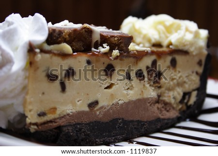 Slice of a chocolate peanut butter pie with whipped cream and ice cream