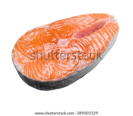 Slice of a salmon isolated on a white background. - stock photo