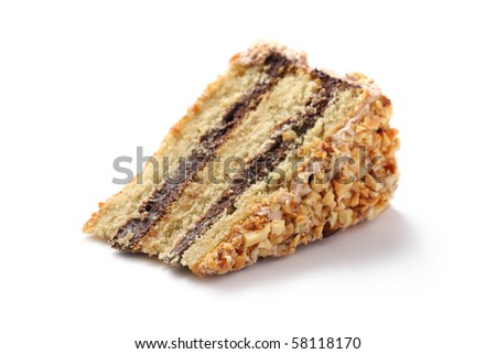 Slice of almond chocolate cake isolated over white background. - stock photo