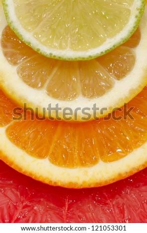 Slice of an orange close up - stock photo
