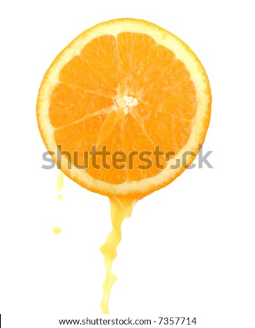 slice of an orange with juice - stock photo