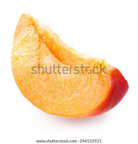 Slice of apricot isolated on white background - stock photo