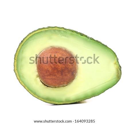 Slice of avocado isolated on white background - stock photo