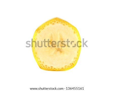 Slice of banana isolated on white background (ripe). Healthy fresh fruit with vitamins.