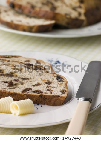 Slice of Barm Brack with Butter
