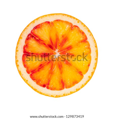 Slice of blood orange isolated on white