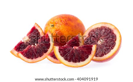 Slice of blood orange isolated on white background