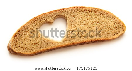 Slice of bread and heart form