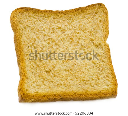 Slice of bread, isolated in the white