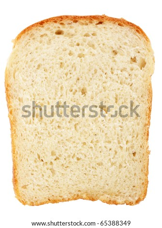 Slice of bread isolated on white background