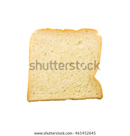 Slice of bread with a bite mark isolated on white background, Clipping path.