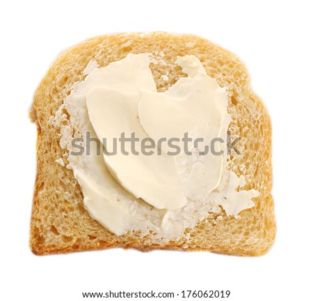 Slice of bread with butter, isolated on white - stock photo