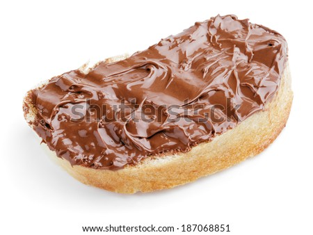 Slice of bread with chocolate hazelnut spread isolated on white - stock photo