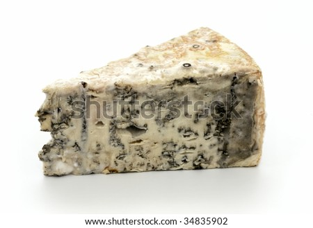 Slice of brie cheese on white background