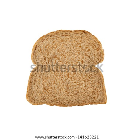 Slice of brown bread isolated on white