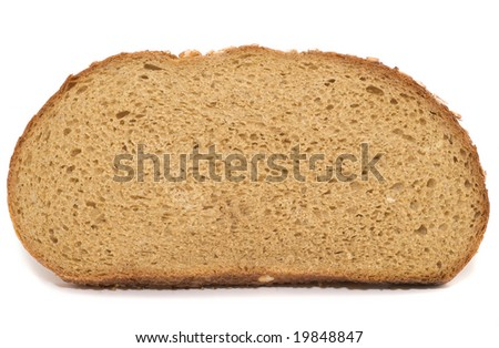 slice of brown bread isolated over white background