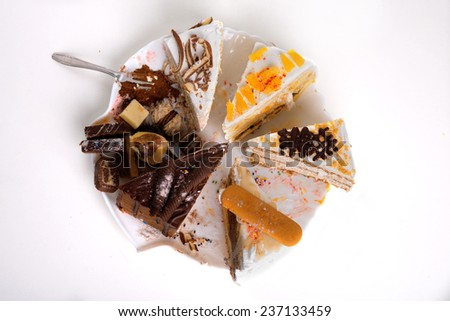 Slice of  cakes served on plate ready for eating - stock photo