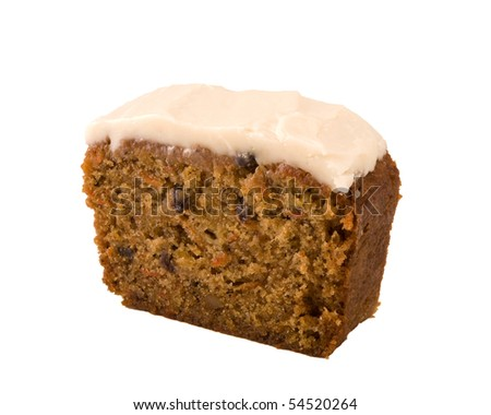 slice of carrot cake isolated on white - stock photo