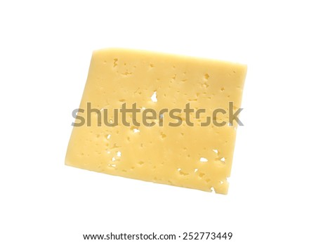 Slice of cheese on white background. Isolated with clipping path - stock photo