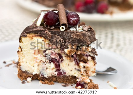Slice of cheesecake baked with dried sweetened cranberries and covered in melted chocolate. Garnished with chocolate shavings and sugar coated cranberries. Shallow DOF. - stock photo