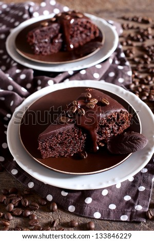 Slice of chocolate cake - stock photo