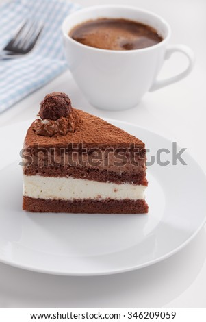 Slice of chocolate cake and a cup of black coffee