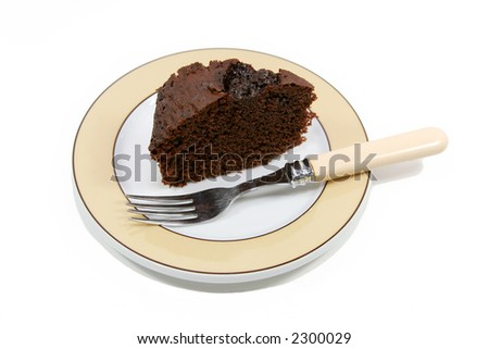 slice of chocolate cake on a plate isolated over white