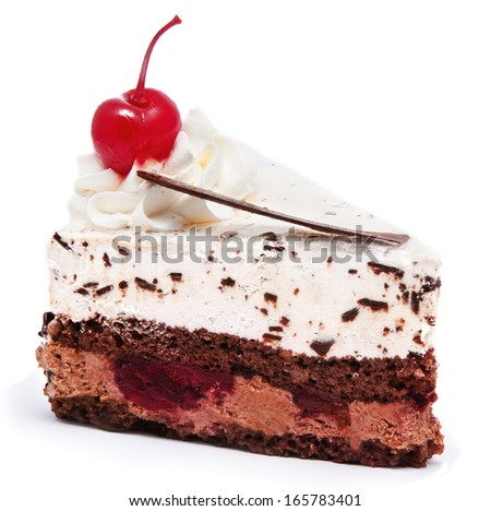Slice of chocolate cake with cherry on the top isolated on a white background - stock photo