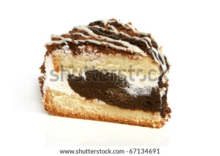 Slice of cream cake with chocolate on the white background - stock photo