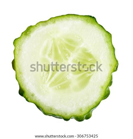Slice of cucumber isolated on white - stock photo