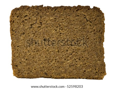 Slice of dark bread, isolated on the white background - stock photo