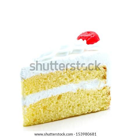 Slice of delicious cake isolated on white - stock photo