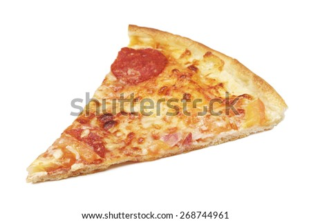 slice of delicious italian pizza, isolated on white - stock photo