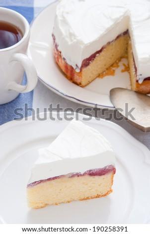 Slice of delicious Strawberry Sponge Cake - stock photo