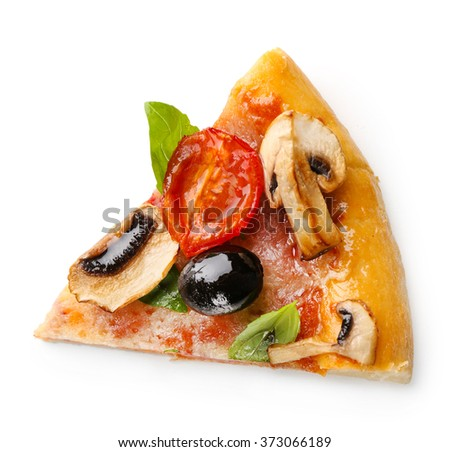 Slice of delicious tasty pizza, isolated on white - stock photo
