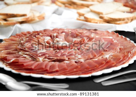 slice of dry cured ham - stock photo