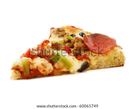 Slice of everything pizza - stock photo