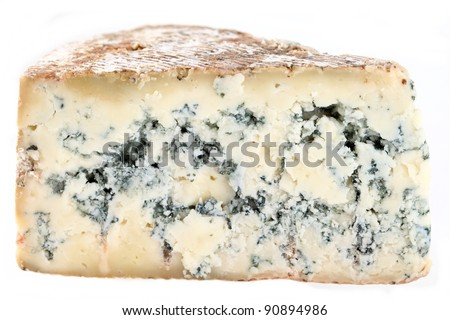Slice of french musty cheese - Bleu basque variety - stock photo