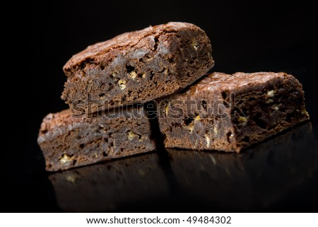 slice of fresh chocolate brownie desert snack - stock photo