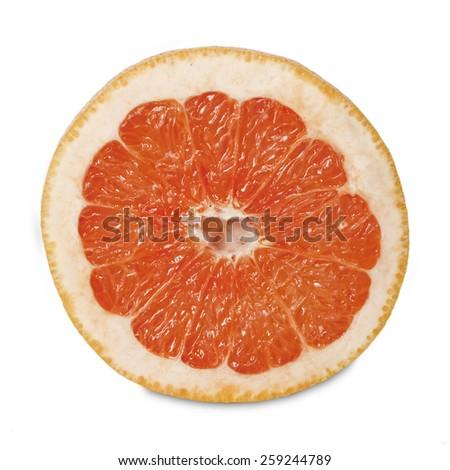 Slice of fresh grapefruit  isolated on white background - stock photo