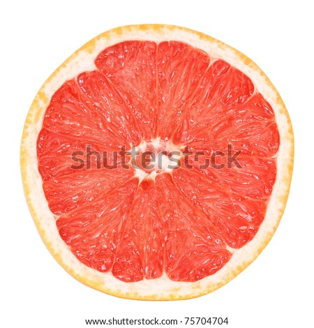 slice of fresh grapefruit isolated on white background with clipping path - stock photo