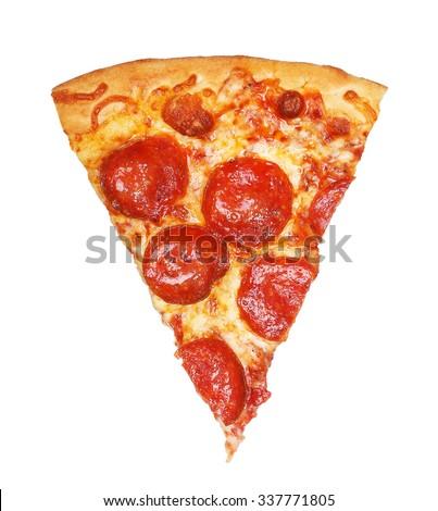 Slice of fresh italian classic original Pepperoni Pizza isolated on white background - stock photo