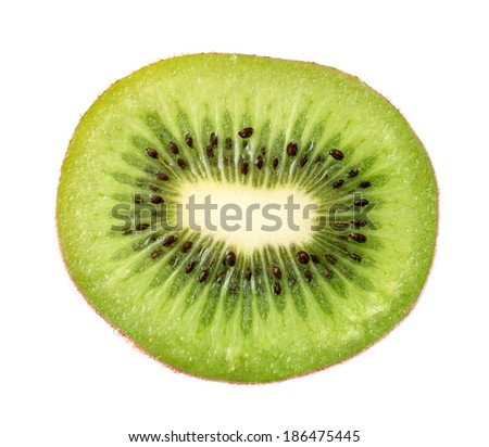 Slice of fresh kiwi fruit on white background