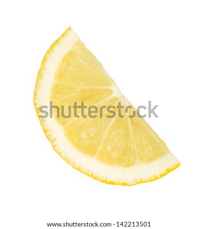 Slice of fresh lemon isolated on white background. - stock photo