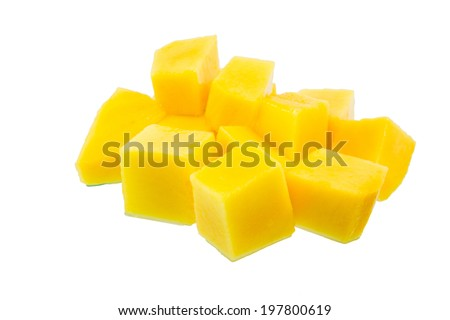 slice of fresh mango with clipping path. - stock photo