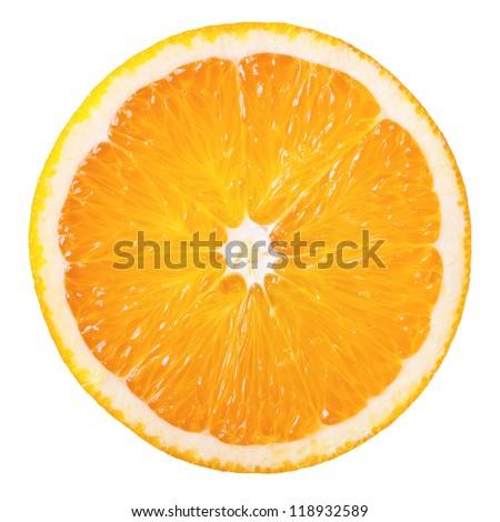 Slice of fresh orange isolated on white background - stock photo