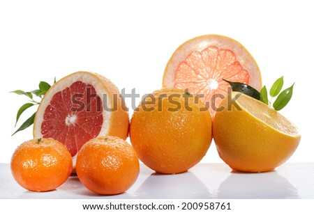 Slice of fresh orange on white background  - stock photo