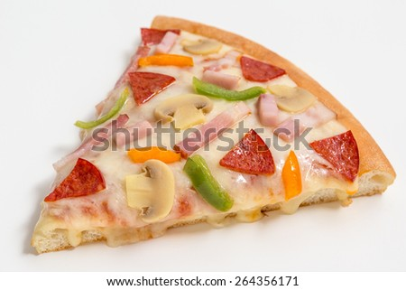 Slice of fresh pizza with vegetables & meat isolated on white background - stock photo