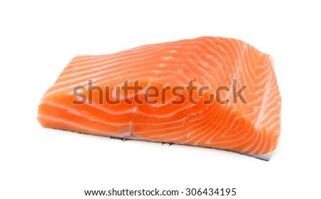 slice of fresh raw salmon on white background  - stock photo