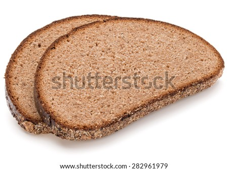 Slice of fresh rye bread isolated on white background cutout - stock photo